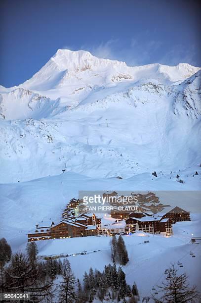 General view taken on January 6 2010 shows the La Plagne ski resort AFP PHOTO JEANPIERRE CLATOT