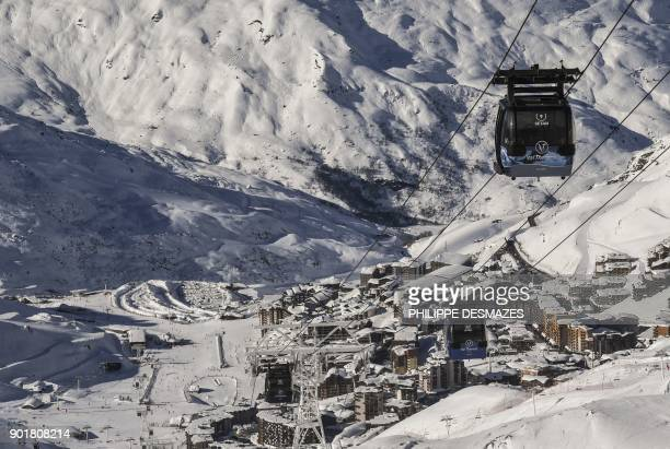 A general view taken on January 6 2018 shows telecabins at the Val Thorens ski resort Europe's highest