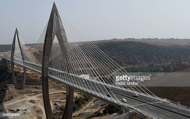 A general view taken on July 10 2016 shows the longest cablestayed bridge in Africa named the 'Mohammed VI Bridge' which stretches over the Bouregreg...
