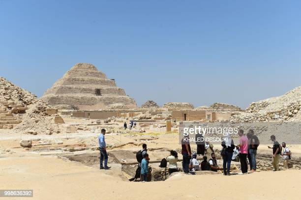 A general view taken on July 14 2018 shows the site of the new discovery made by an EgyptianGerman mission at the Saqqara necropolis south of...