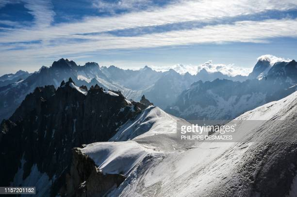 A general view taken on July 20 2019 shows the 'Vallee Blanche' in the Mont Blanc range near Chamonix in the French Alps eastern France