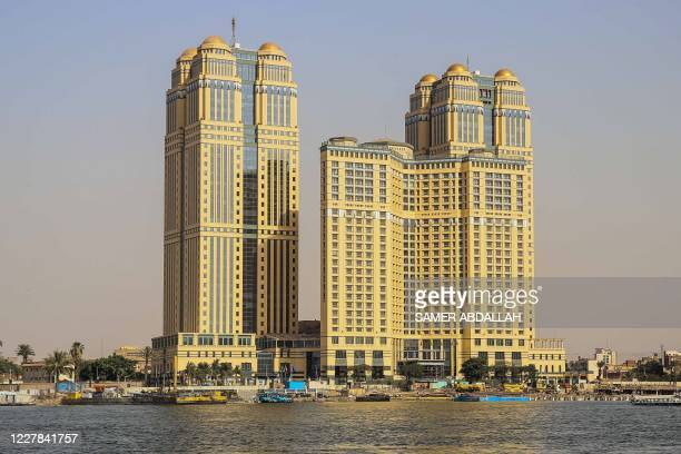 General view taken on July 30, 2020 shows the five-star Fairmont Nile City hotel, where an alleged sexual assault took place in 2014, in the Egyptian...