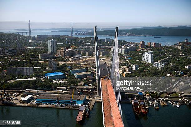 General view taken on June 26 2012 show the cablestayed Golden Horn bridge over the Golden Horn bay in Vladivostok French company Freyssinet a...