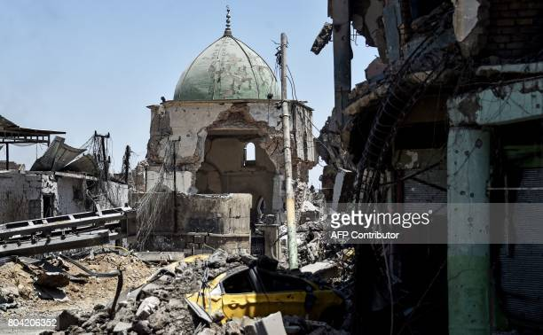 A general view taken on June 30 shows the destroyed AlNuri Mosque in the Old City of Mosul as Iraqi government forces continue their offensive to...