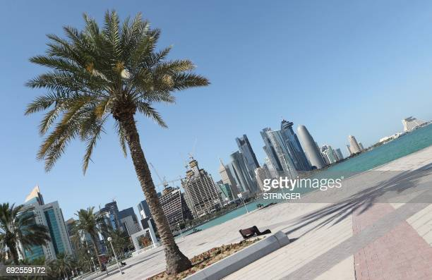 A general view taken on June 5 2017 shows the corniche in Doha Arab nations including Saudi Arabia and Egypt cut ties with Qatar accusing it of...