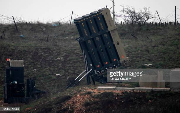 General view taken on March 17, 2017 shows Israel's Iron Dome defence system, designed to intercept and destroy incoming short-range rockets and...