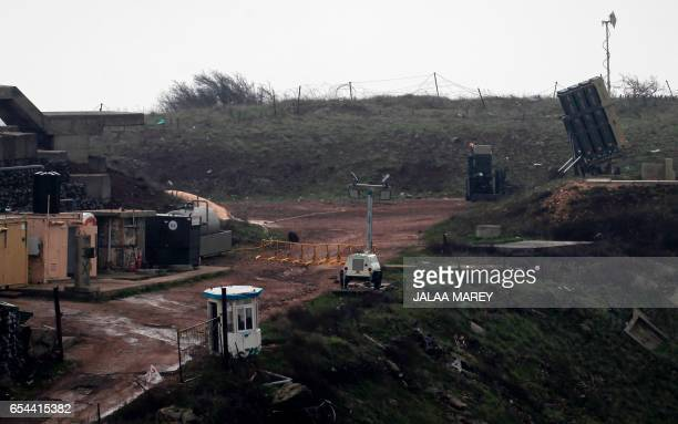 A general view taken on March 17 2017 shows Israel's Iron Dome defence system designed to intercept and destroy incoming shortrange rockets and...