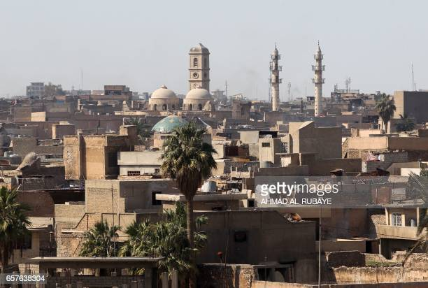 A general view taken on March 25 shows the Mosul skyline featuring the minaret and domes of the Great Mosque of AlNuri in Mosul where Islamic State...