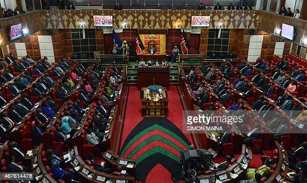 A general view taken on March 26 2015 in Nairobi shows the Kenyan parliament as President Uhuru Kenyatta addresses two Houses the Senate and the...