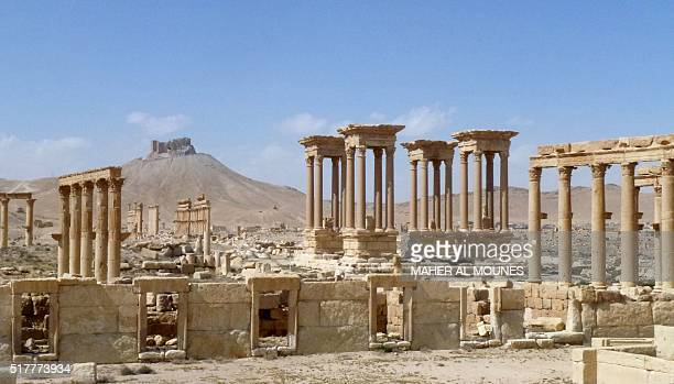 A general view taken on March 27 2016 shows part of the ancient Syrian city of Palmyra after government troops recaptured the UNESCO world heritage...
