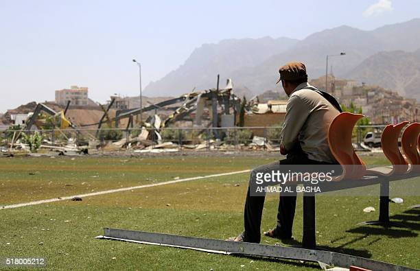 A general view taken on March 29 shows the heavily damaged alSaqr Sports Club in the southwestern city of Taez after clashes between Shiite Huthi...