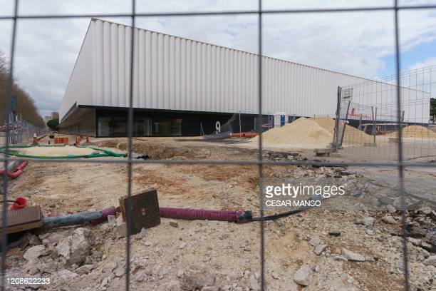General view taken on March 30 of an empty constructions site outside the Plantio football stadium in Burgos on the day that all nonessential...