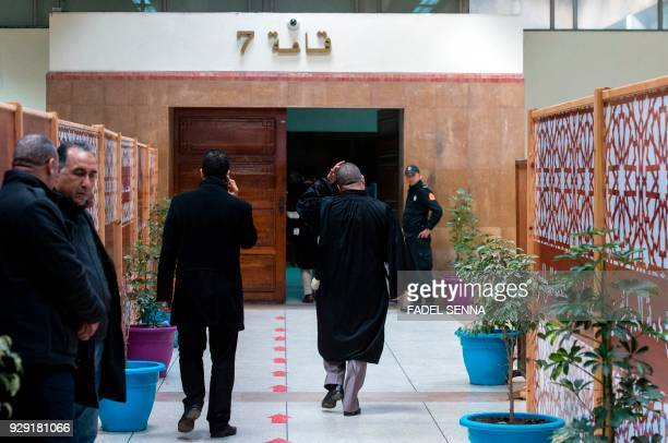 A general view taken on March 8 shows people gathering ahead of the trial of Moroccan newspaper publisher and journalist Taoufiq Bouachrine in...