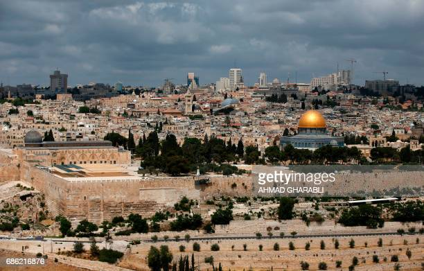 A general view taken on May 21 shows the Dome of Rock at the AlAqsa Mosque compound a UNESCO heritage site in the Old City of Jerusalem / AFP PHOTO /...