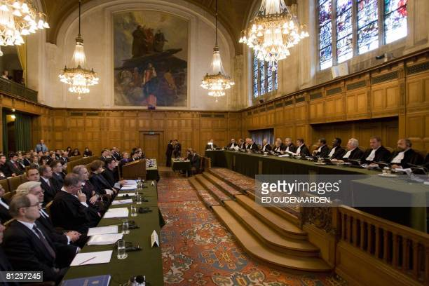 General view taken on May 26, 2008 in The Hague shows the International Court of Justice hearing a complaint filed in 1999 by Croatia against Serbia,...