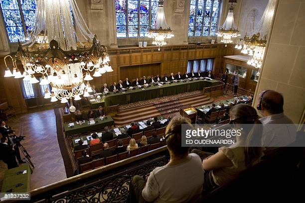General view taken on May 26, 2008 shows the International Court of Justice in The Hague hearing a complaint filed in 1999 by Croatia against Serbia,...