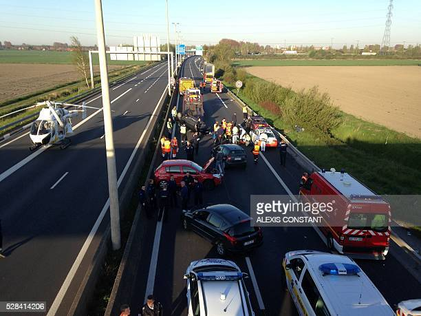 A general view taken on May 5 2016 shows the site of an accident on the A16 motorway in Coudekerque near Dunkerque northern France One person died...