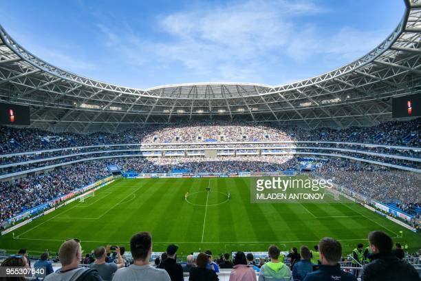 A general view taken on May 6 2018 shows the pitch of the Samara Arena also known as Kosmos Arena during a local match in Samara Russia ahead of the...