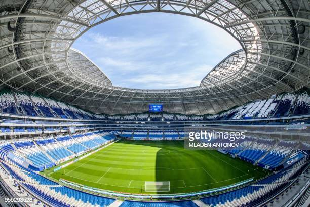 A general view taken on May 6 2018 shows the seating and the pitch of the Samara Arena also known as Kosmos Arena in Samara Russia ahead of the 2018...