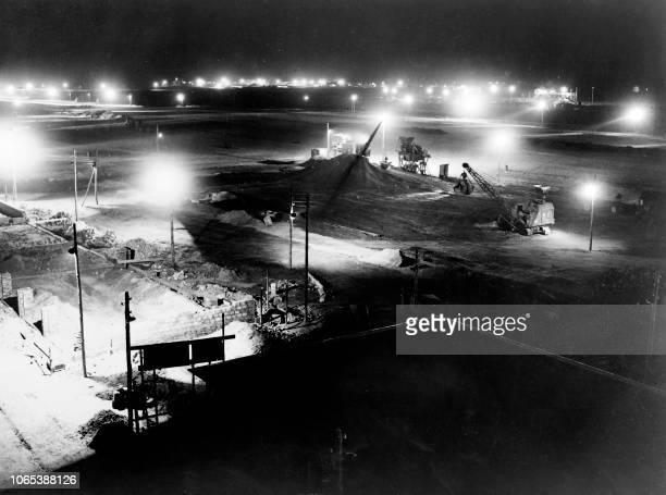 General view taken on November 08 1948 showing the construction of the Berlin Tegel airport in the Berlin Frenchcontrolled zone ordered by the French...