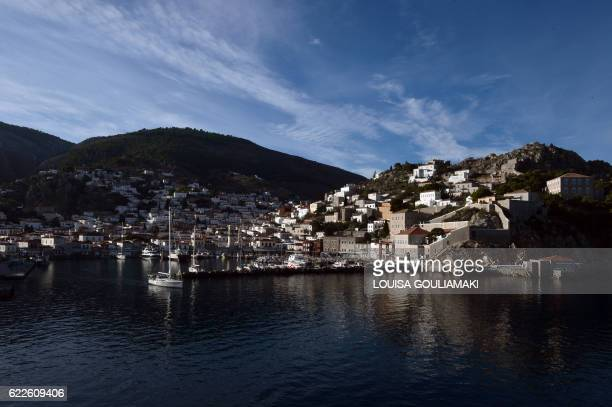 General view taken on November 12, 2016 shows the Greek island of Hydra. - Among the legions of fans mourning the death of Leonard Cohen at age 82...