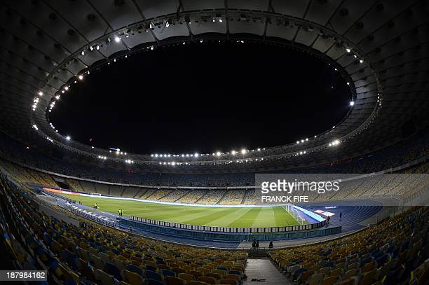 General view taken on November 14, 2013 shows the inside of the Olympic Stadium in Kiev. AFP PHOTO / FRANCK FIFE
