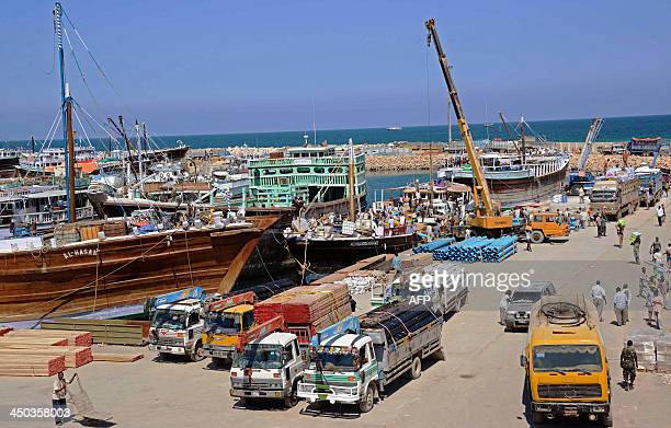 A general view taken on November 18 2013 shows Bosaso harbor in Puntland After increased security in Somalia's Puntland region Bosaso has become a...