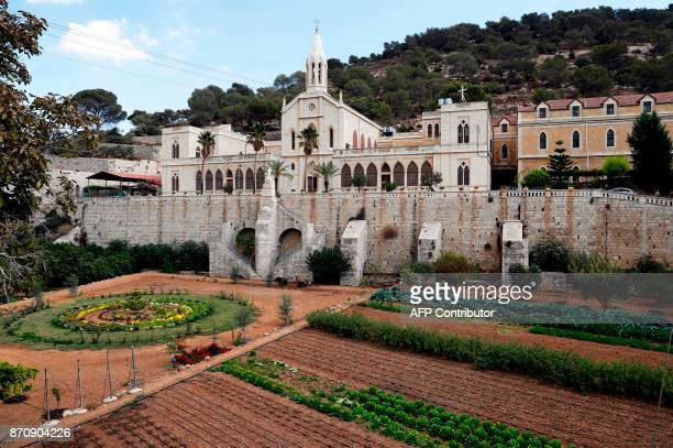 A general view taken on November 4 2017 shows the Catholic monastery of Artas south of the West Bank city of Bethlehem This monastery dedicated to...