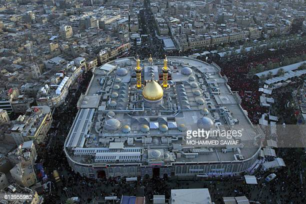 A general view taken on October 11 shows Imam Abbas shrine as Iraqi Shiites take part in commemorations marking Ashura in the holy city of Karbala...