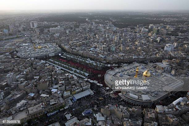 A general view taken on October 11 shows the Imam Hussein shrine and Imam Abbas shrine as Iraqi Shiites take part in commemorations on the eve of the...
