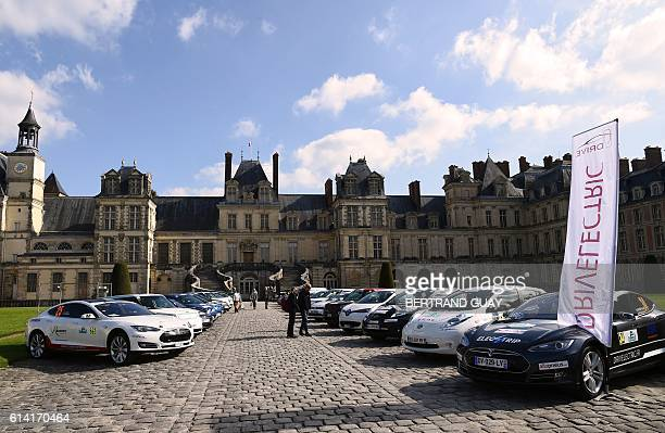 General view taken on October 12 2016 shows electric and hydrogen cars on display ahead of the start of the first edition of the eRallye MonteCarlo...