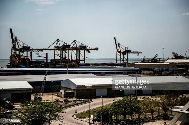 A general view taken on October 18 2014 shows the Beira industrial port at the end of the Beira 'corridor' in Beira Mozambique The Beira corridor is...