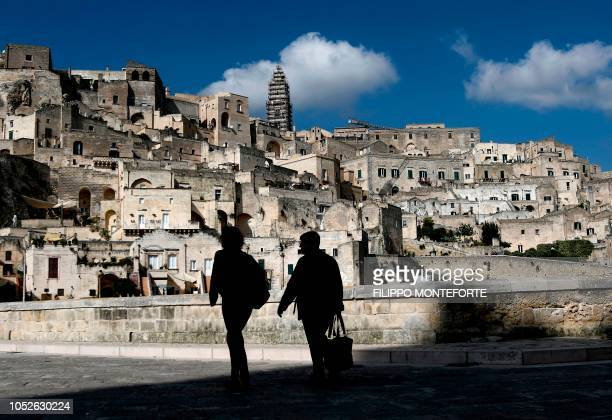 A general view taken on October 19 2018 shows visitors in the southern Italian city of Matera which has been selected as the 2019 European capital of...