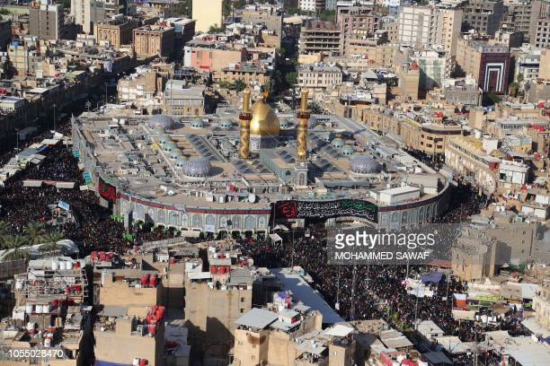 A general view taken on October 29 shows the Imam Abbas shrine as Iraqi Shiites make their way to commemorate the Arbaeen religious festival which...