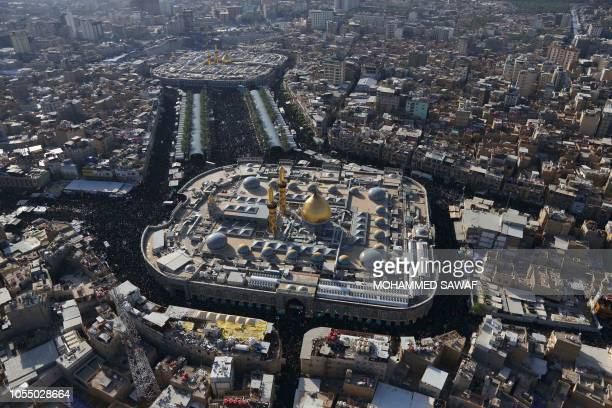 A general view taken on October 29 shows the Imam Hussein shrine and Imam Abbas shrine as Iraqi Shiites take part in commemorations on the eve of the...