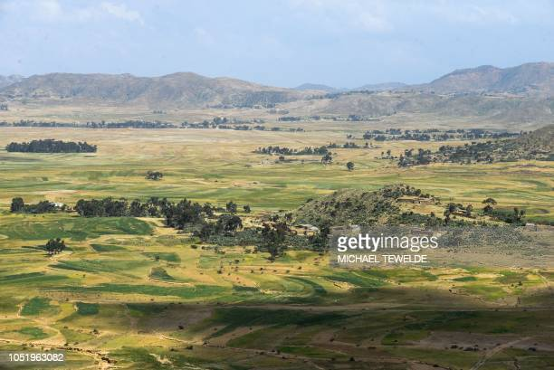 A general view taken on October 3 shows the countryside near the southern Eritrean town of Senafe some 30km north of the border with Ethiopia on...
