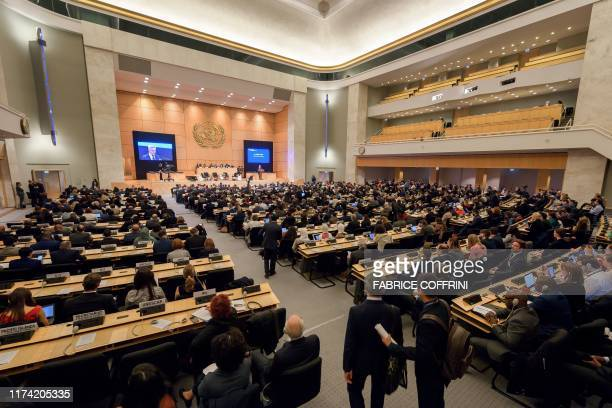 General view taken on October 7, 2019 in Geneva, during the opening of an United Nations High Commissioner for Refugees executive committee meeting.