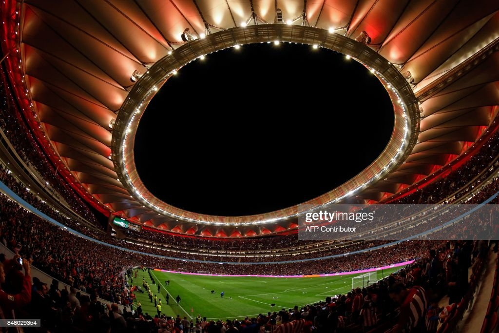 General view taken on September 16, 2017 during the inauguration of the t the Wanda Metropolitano stadium after the Spanish league football match Club Atletico de Madrid vs Malaga CF in Madrid. /