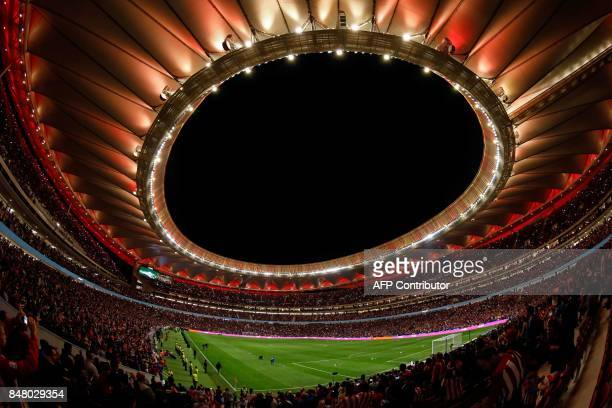 General view taken on September 16 2017 during the inauguration of the t the Wanda Metropolitano stadium after the Spanish league football match Club...