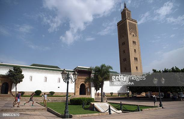 A general view taken on September 5 2016 shows the AsSounna mosque in the Moroccan capital Rabat Two months before it hosts the COP22 climate...
