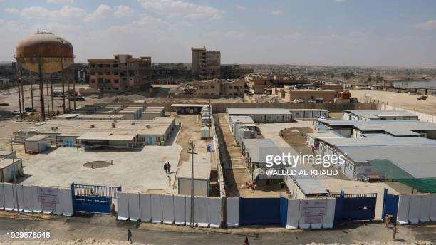 A general view taken on September 9 shows the alJamhuri hospital complex in the northern city of Mosul Two hospitals reopened in western Mosul today...