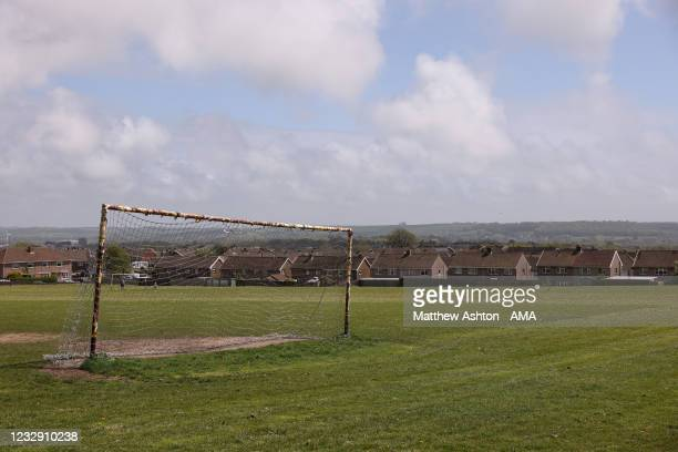 General view the a goal post and net on a playing field near to Penybont FC during the Cymru Welsh Premier League match between Penybont and Connah's...