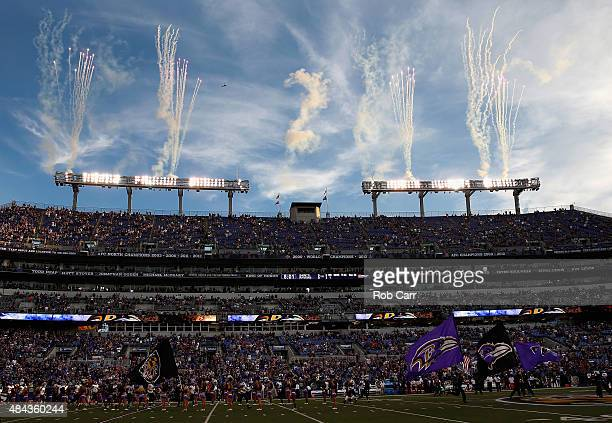 A general view the Baltimore Ravens and New Orleans Saints preseason game at MT Bank Stadium on August 13 2015 in Baltimore Maryland