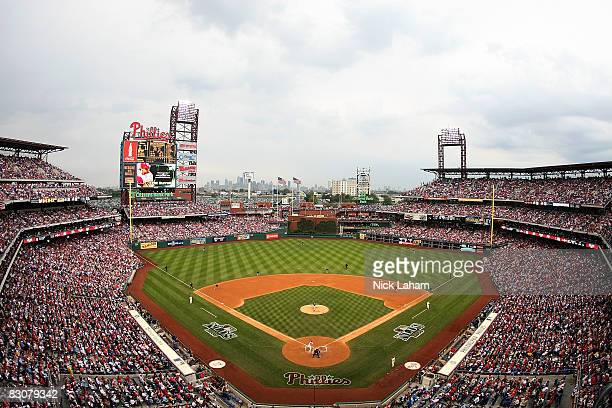 A general view the game between the Philadelphia Phillies and Milwaukee Brewers during Game 1 of the NLDS Playoffs at Citizens Bank Ballpark on...