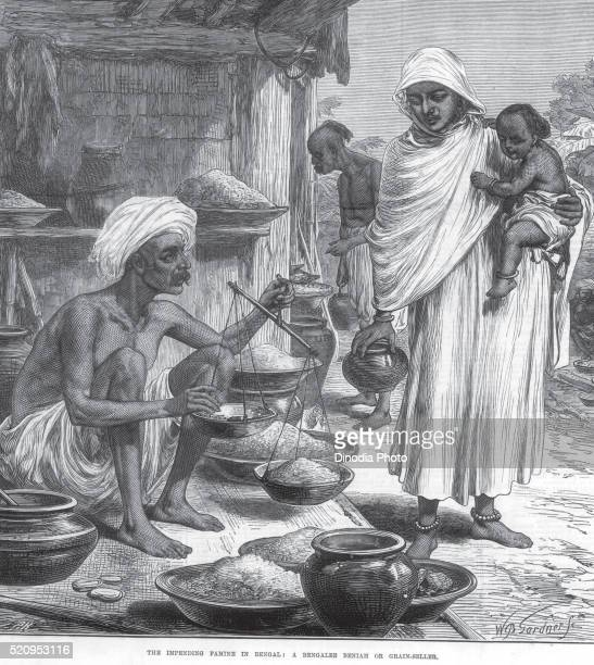 General View The impending famine in Bengal A Bengalee Bengali Beniah or grain seller, West Bengal, India