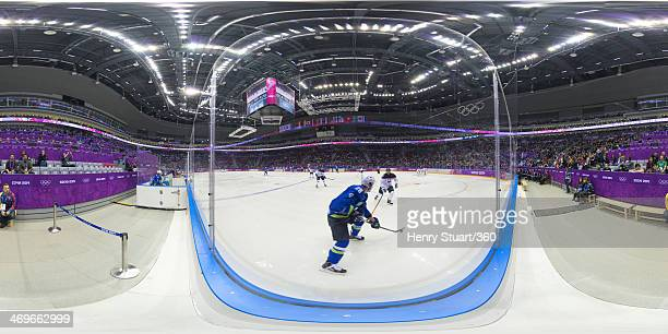 A general view the Men's Ice Hockey Slovakia vs Slovenia at the Sochi 2014 Winter Olympics on February 15 2014 in Sochi Russia