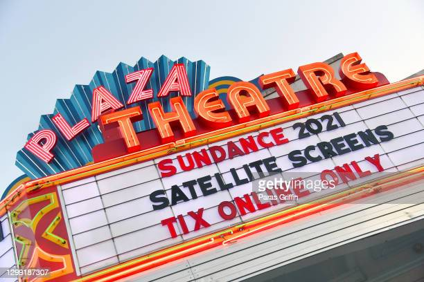 """General view the Plaza Theatre marquee that reads """"Sundance 2021"""" on January 28, 2021 in Atlanta, Georgia. The Sundance Film Festival previously..."""