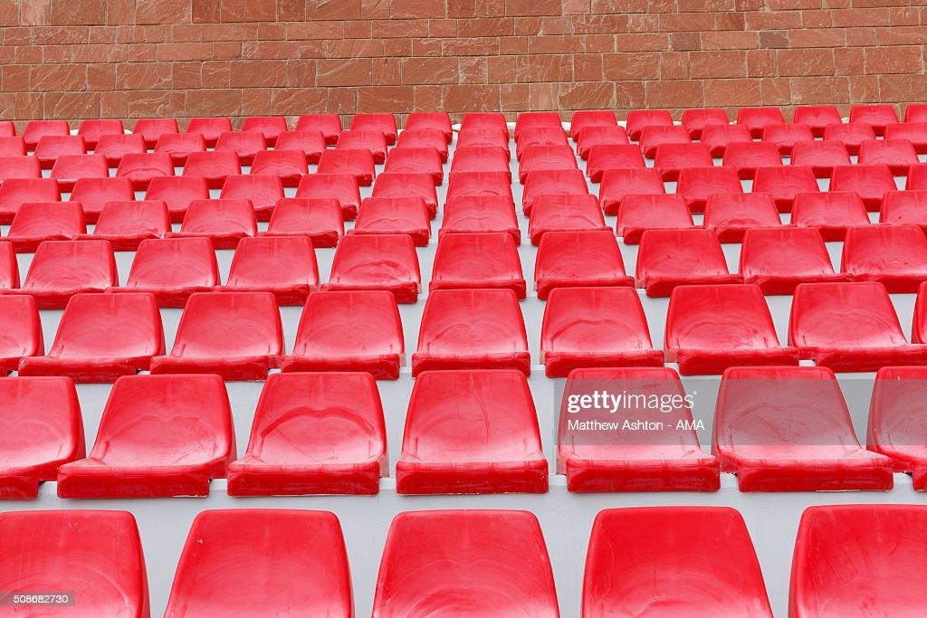 A general view the red seats in the Al-Shamal SC Stadium, the home venue of Qatar Stars League team Al-Shamal SC., a Qatari football club based in Madinat ash Shamal, Qatar.