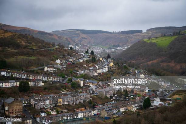 A general view the Rhondda Valley on February 18 in Tylorstown Wales Inspections of old coal tips on the mountains in the Rhondda are underway...