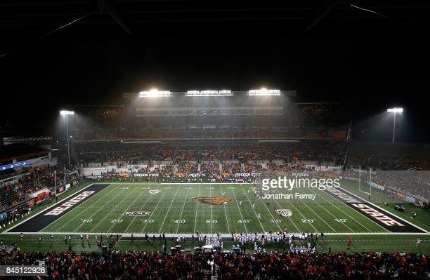 General view the satdium during the game between the Minnesota Golden Gophers and the Oregon State Beavers at Reser Stadium on September 9, 2017 in...